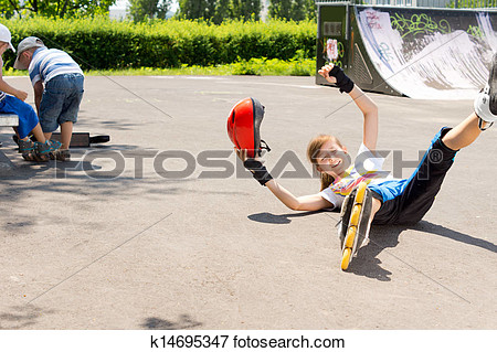 Fallen Girl While Skateboarding Clipart.