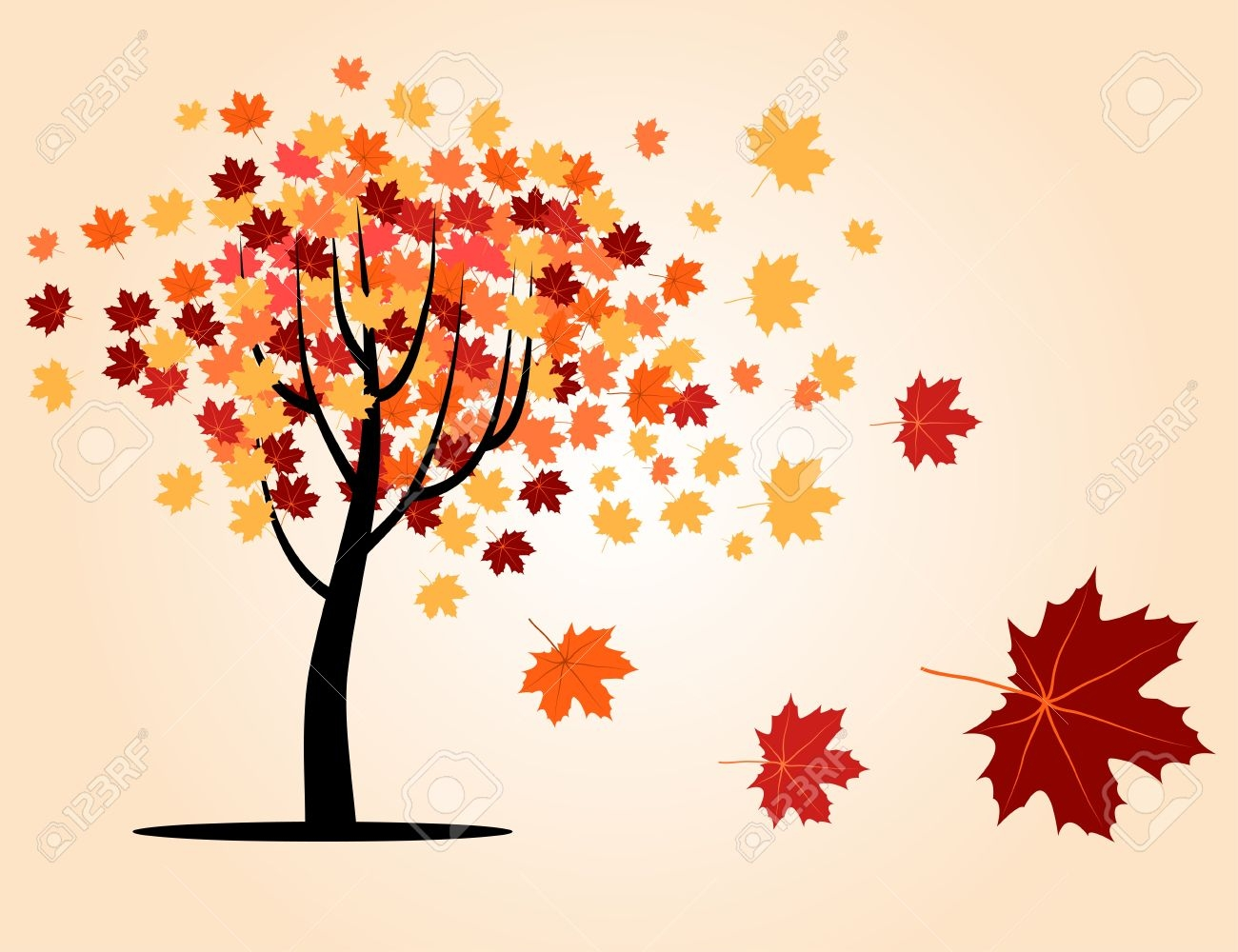 Tree with falling leaves clip art.