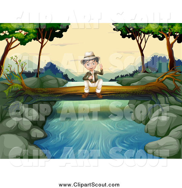 Clipart of a Sitting Explorer Boy on a Fallen Log over a Stream by.