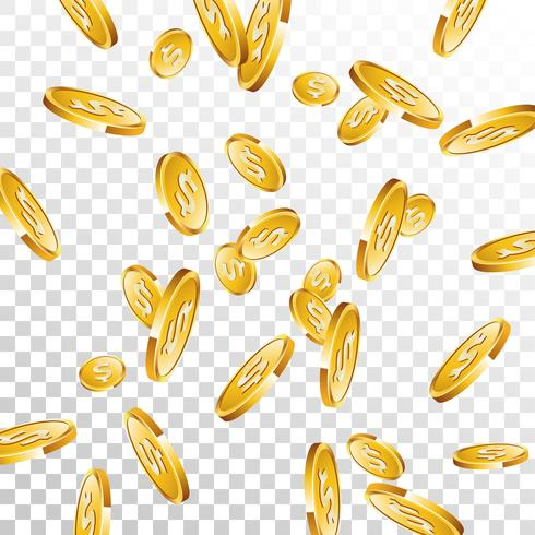 Realistic gold coins illustration on transparent background.