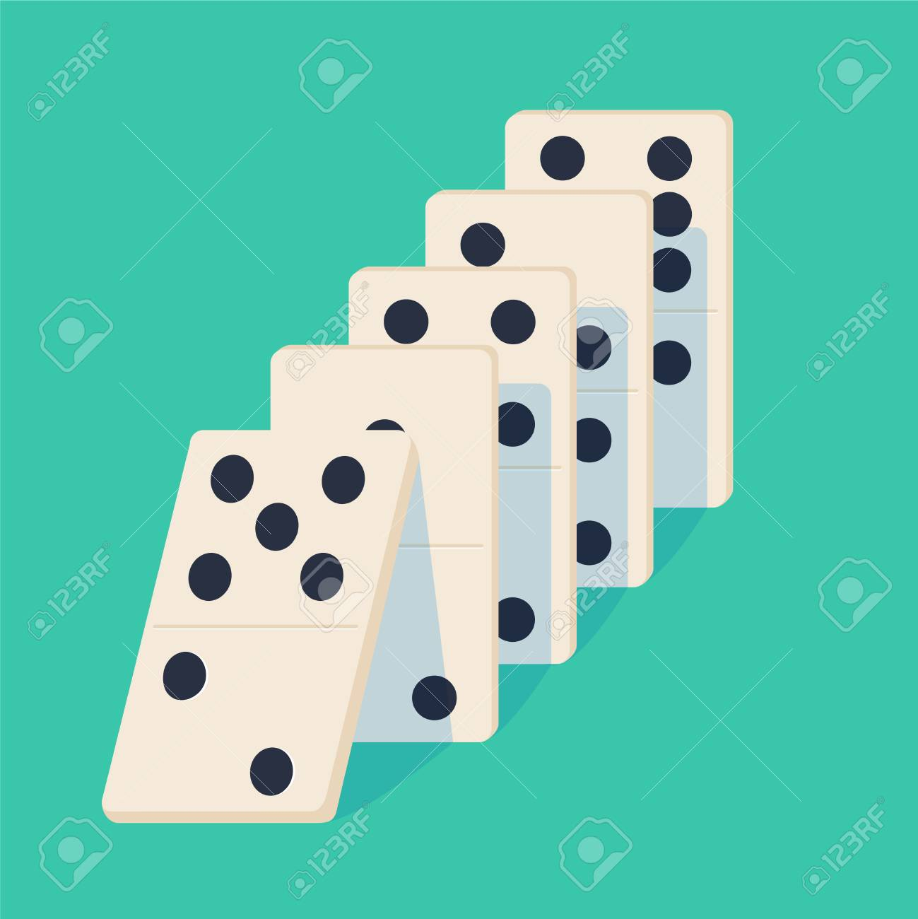 Falling dominoes. Concept of Domino effect. Vector illustration...