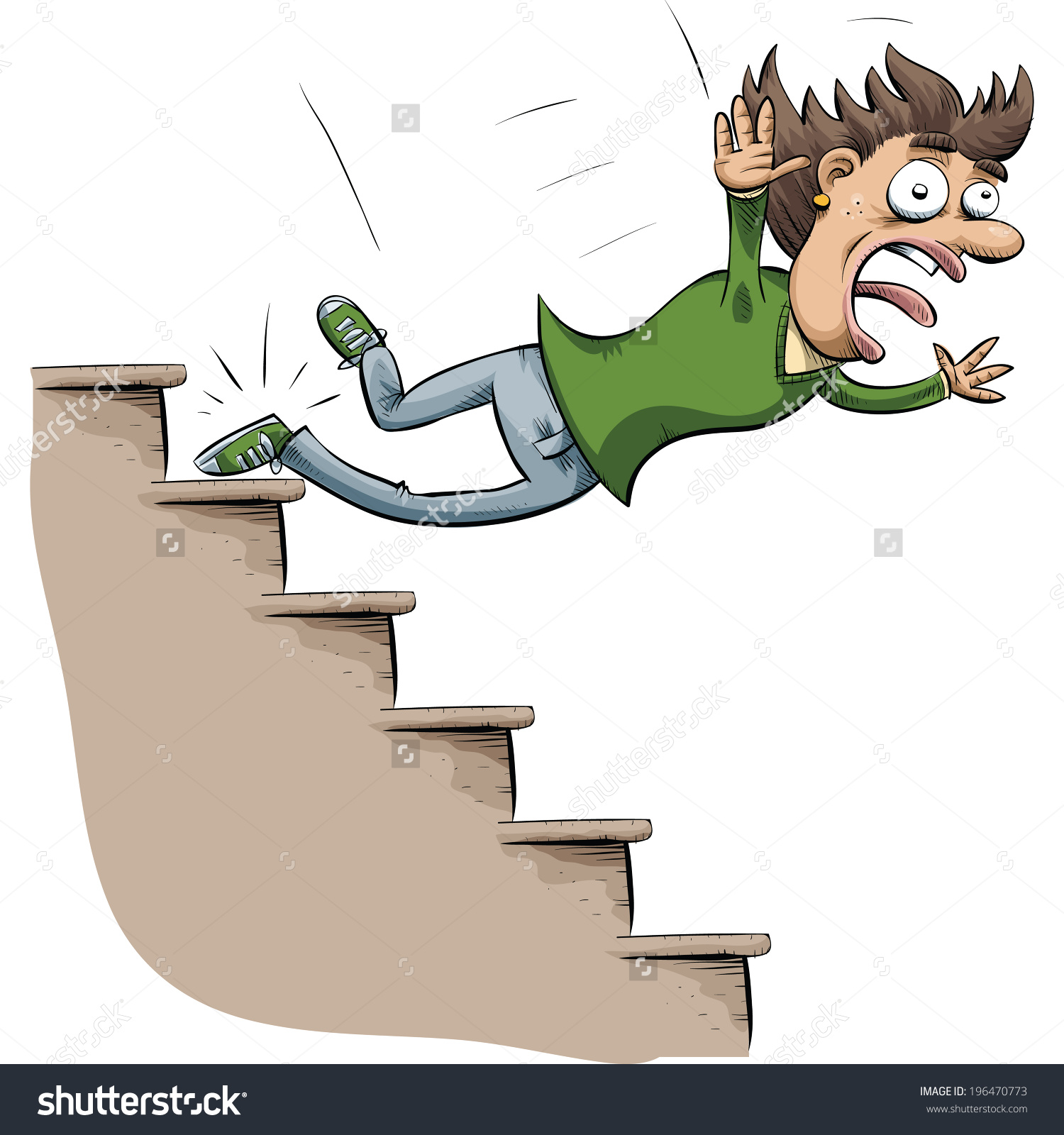 Large woman falling down clipart.