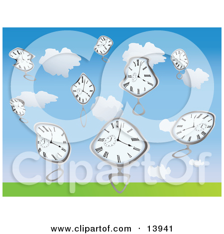 Warped Pocket Watches Falling From the Sky Clipart Illustration by.