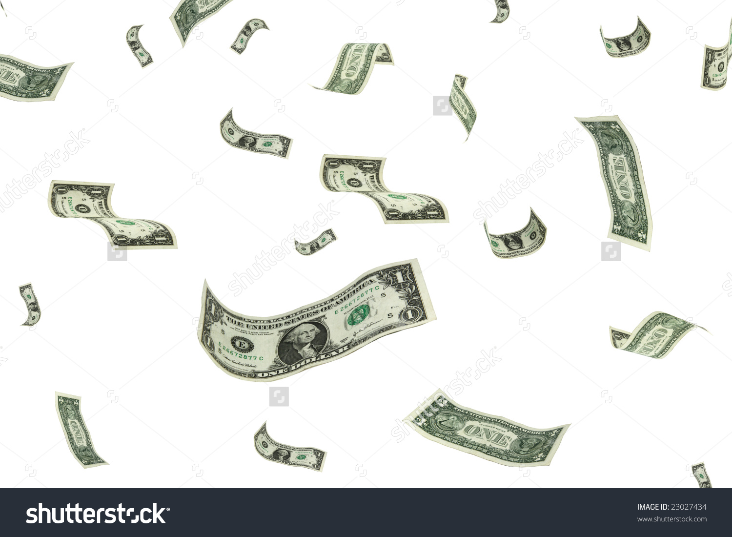 Money Falling Sky Over White Background Stock Photo 23027434.