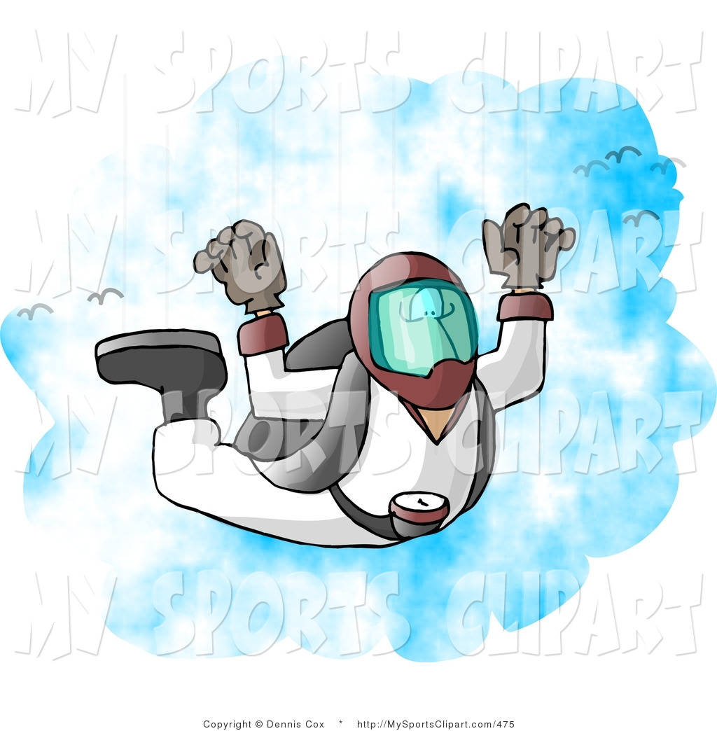 Sports Clip Art of a Skydiver Falling from the Sky by Dennis Cox.