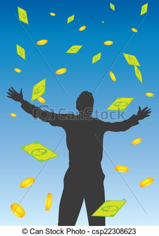 Vector Illustration of Money Falling From the Sky Vector.