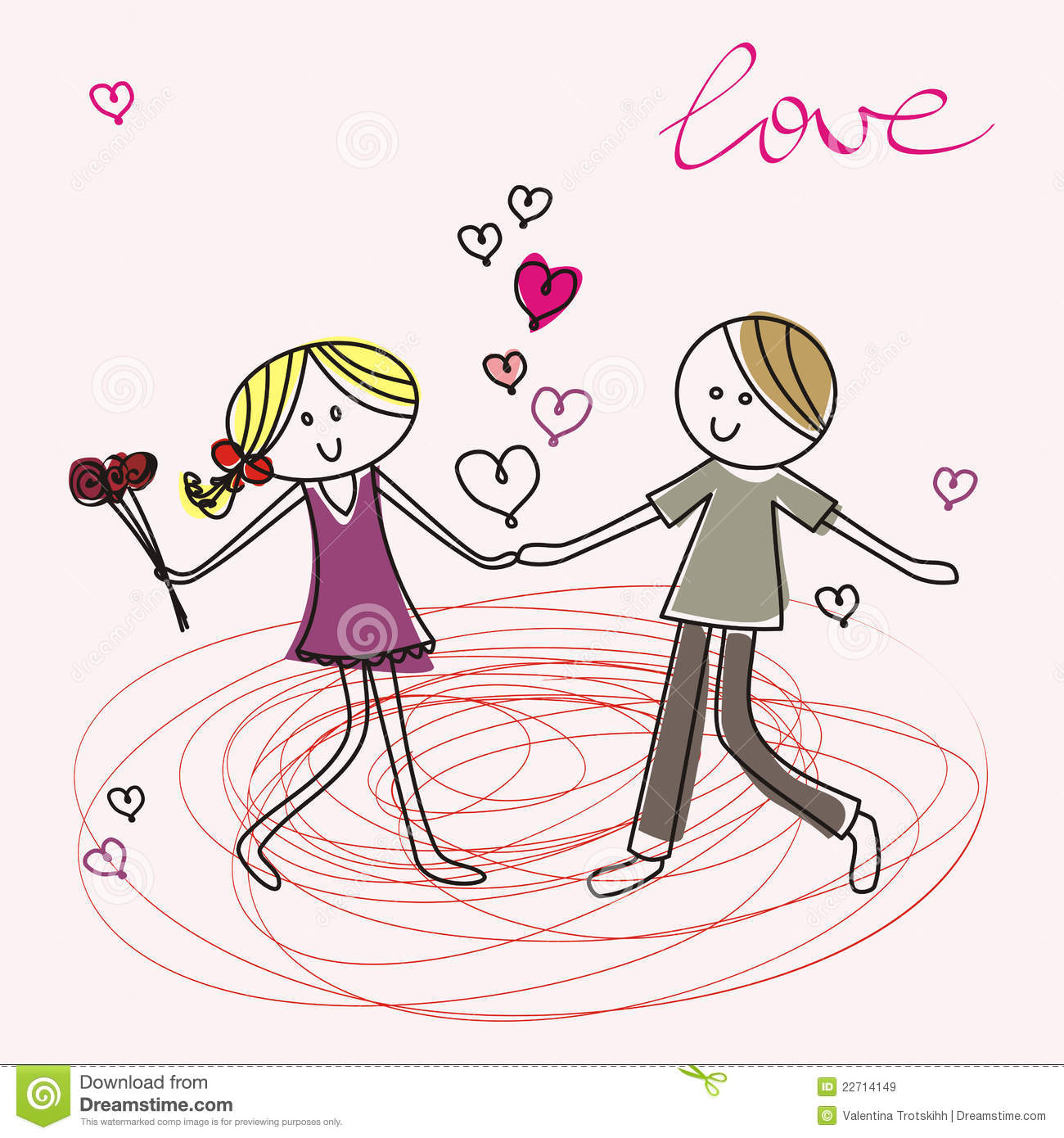 Teenagers Fall In Love Royalty Free Stock Images.