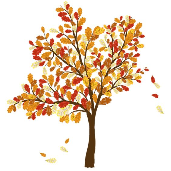 Colorful Clip Art For The Fall Season: Tree With Falling Leaves.