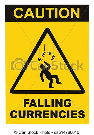 Stock Photography of Caution Falling Currencies Warning Sign.