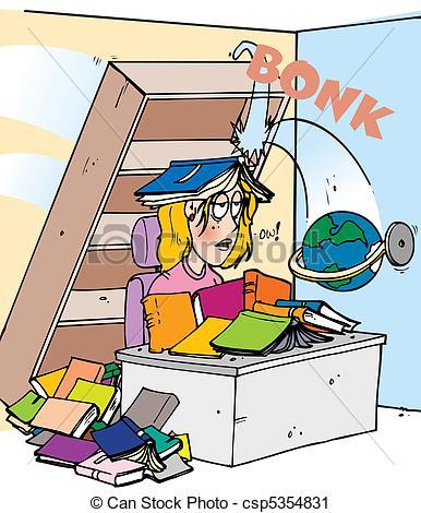 Vector Clip Art of head bonk bookshelf.
