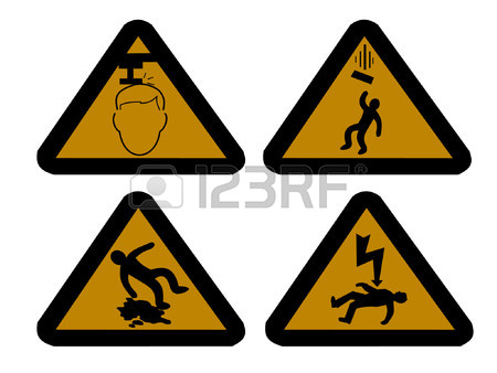 Construction Hazard Signs Falling Objects Royalty Free Cliparts.