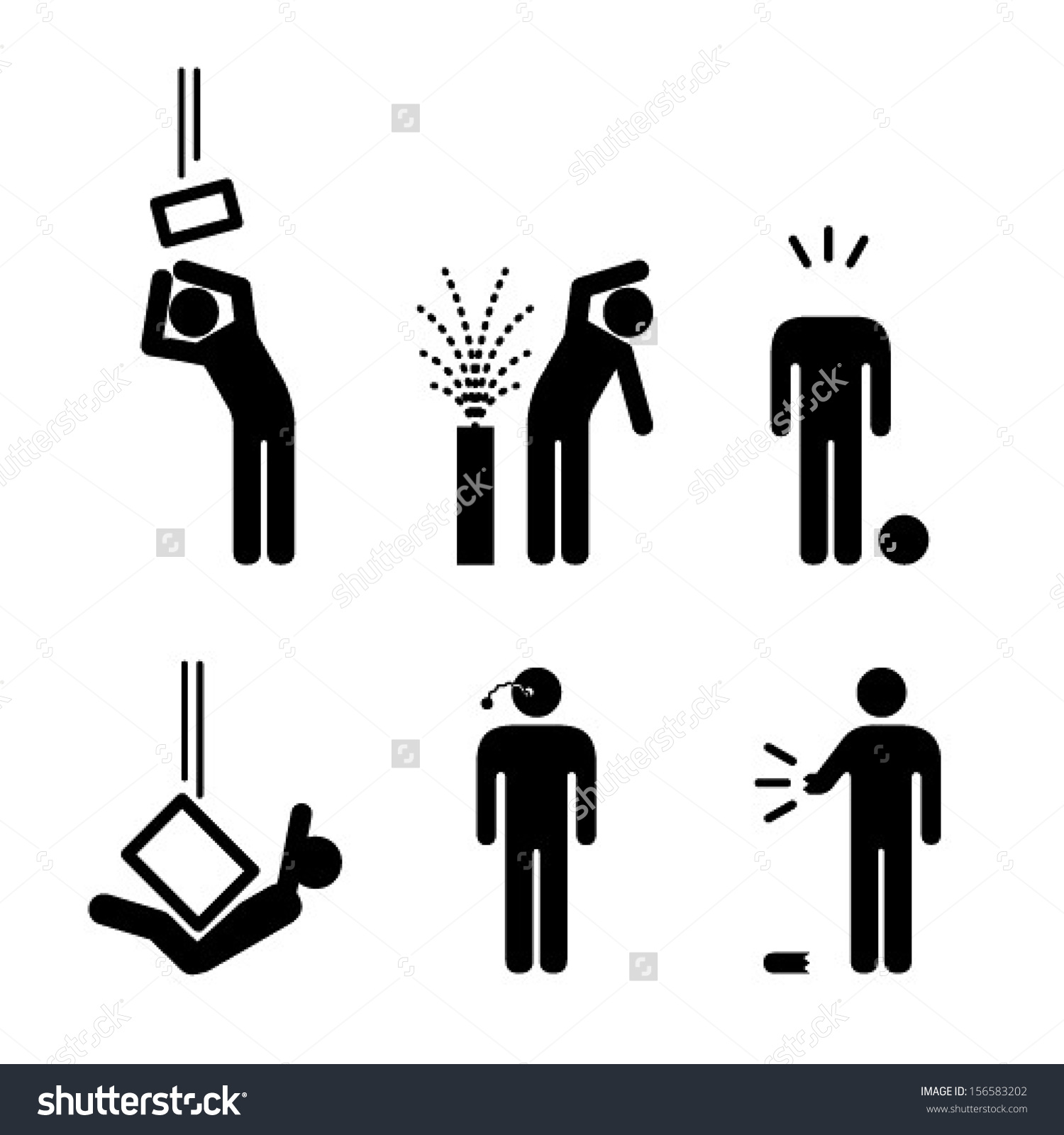 People Icons Variety Workplace Accidents Falling Stock Vector.