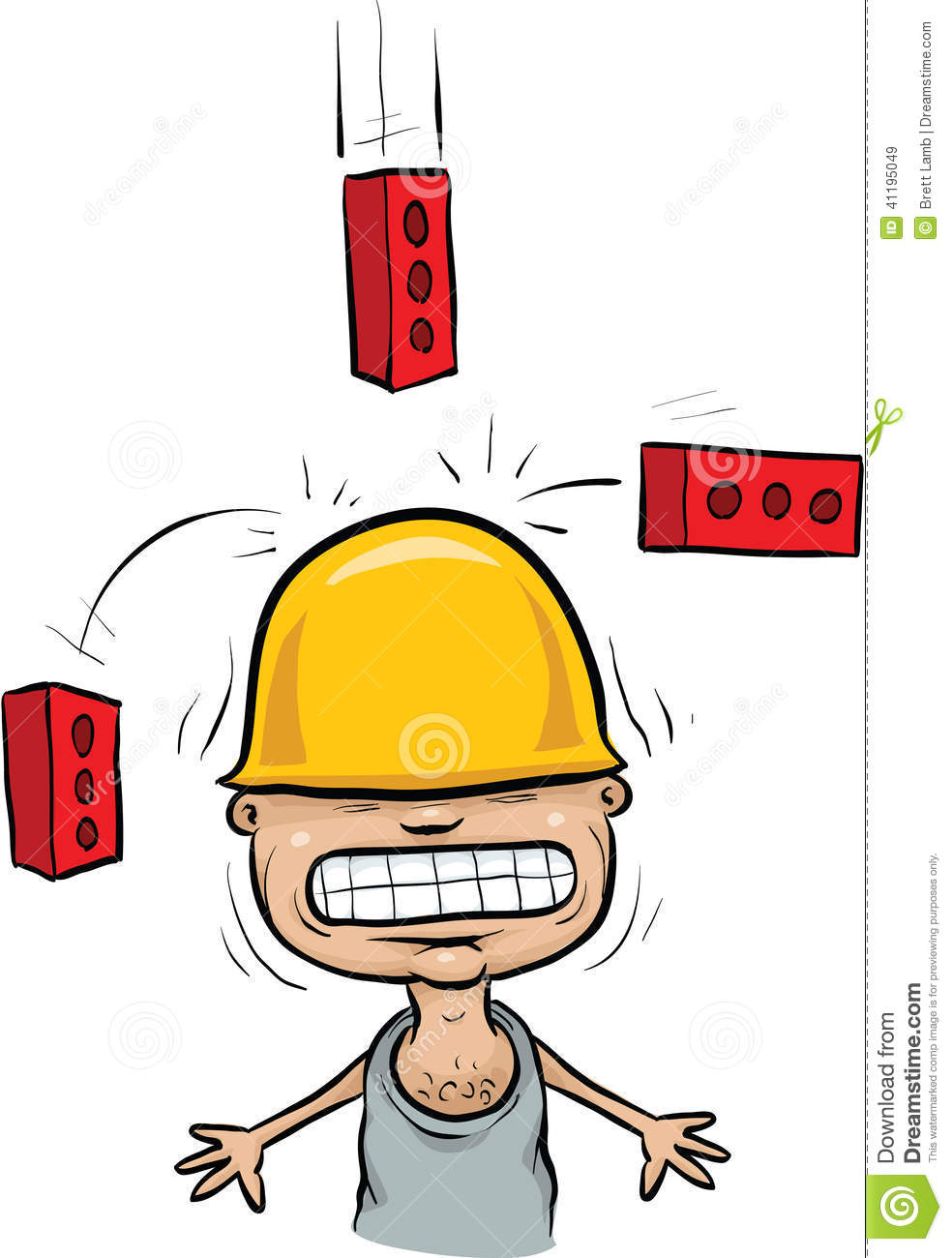 Falling Brick Accident Stock Illustration.
