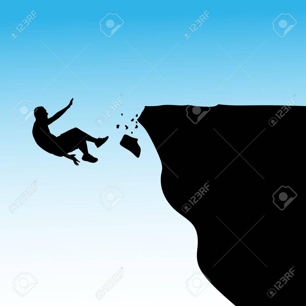 Man falls off a cliff, vector.