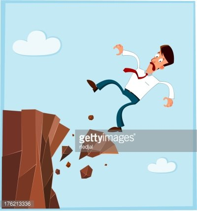 Businessman Falling from The Side of Cliff premium clipart.