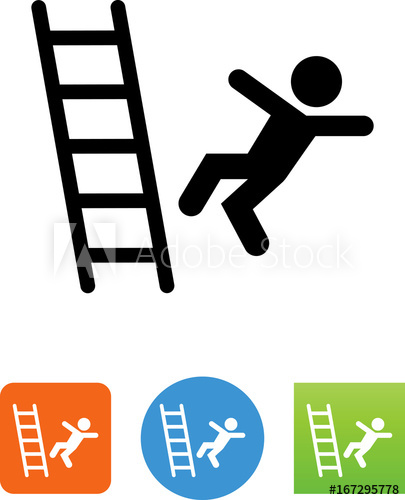 Person Falling Off A Ladder Icon.