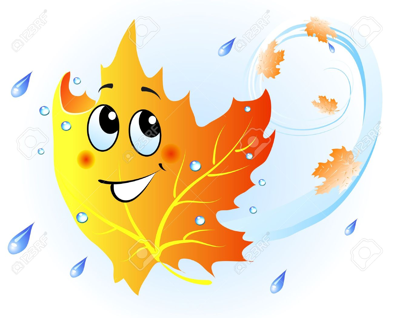 Cute Falling Maple Leaf In Autumn Rain Royalty Free Cliparts.