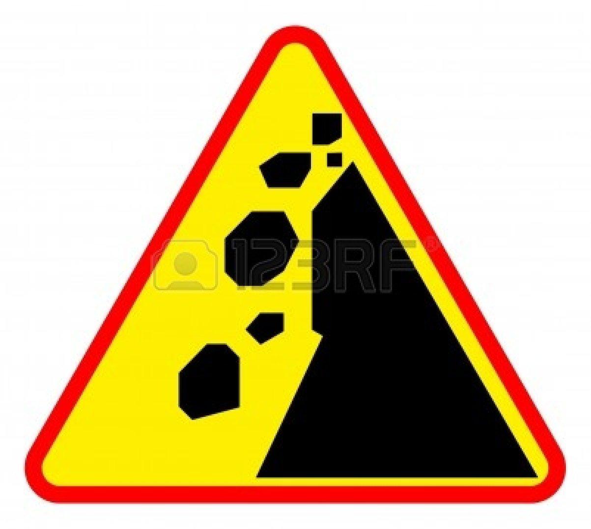 Falling rocks or landslide.