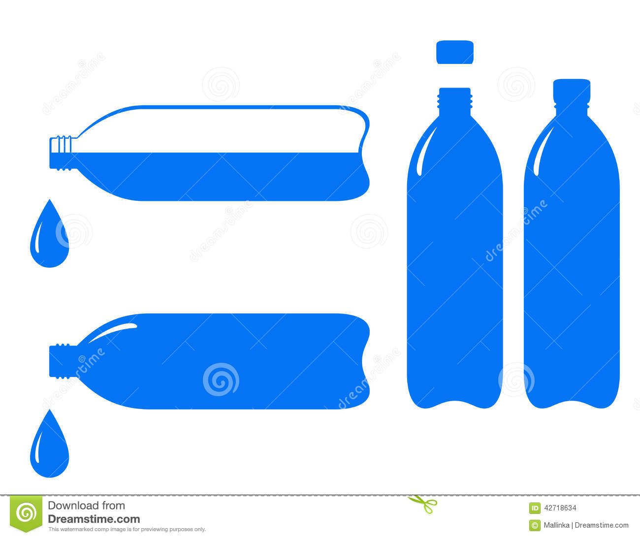 Bottle And Falling Water Drop Stock Vector.