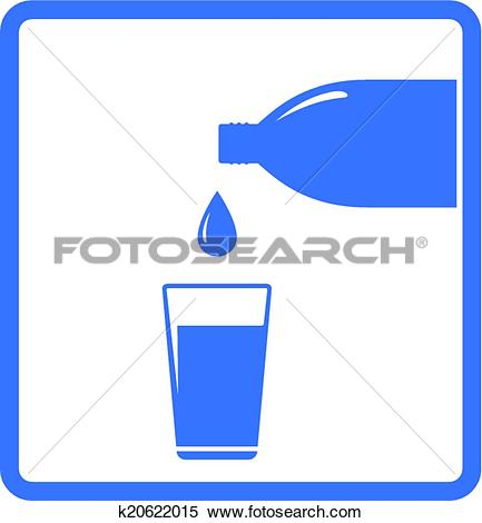 Clipart of falling water drop bottle and glass k20622015.