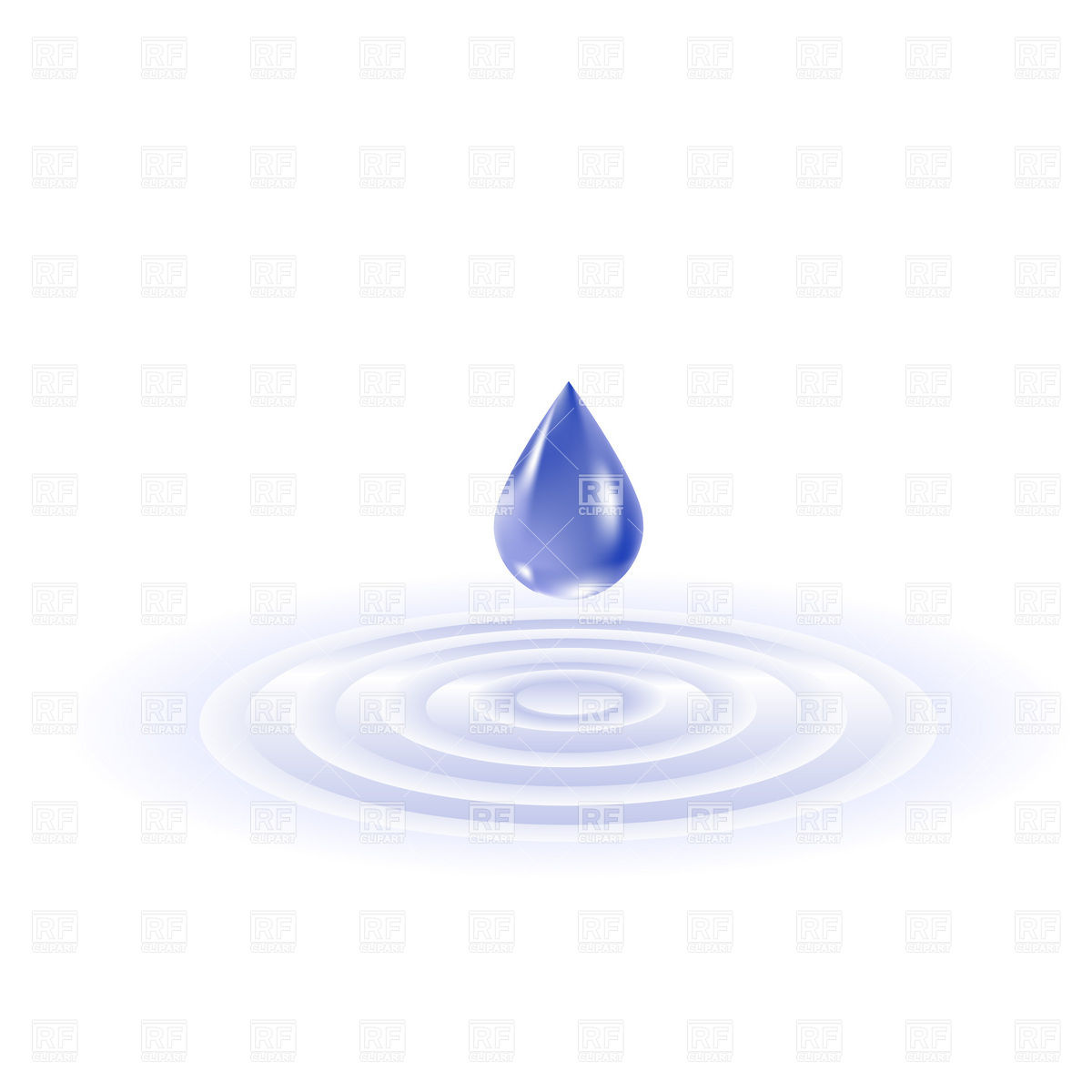 Falling water drop and ripples Vector Image #8537.