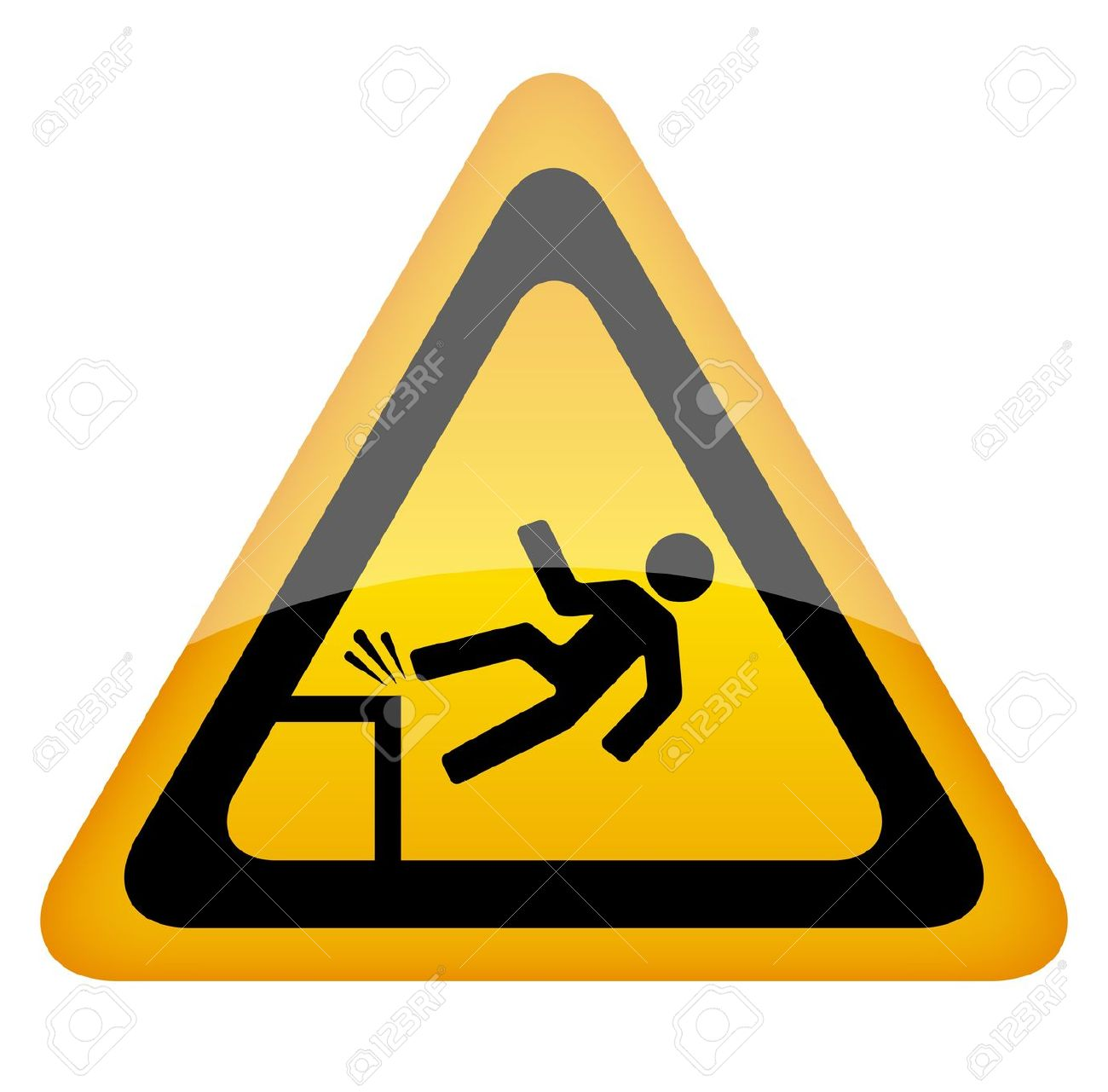 Fall Danger Warning Sign, Vector Illustration Royalty Free.