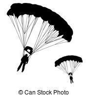 Clipart Vektor von Fallschirmspringer, vektor, silhouetten.