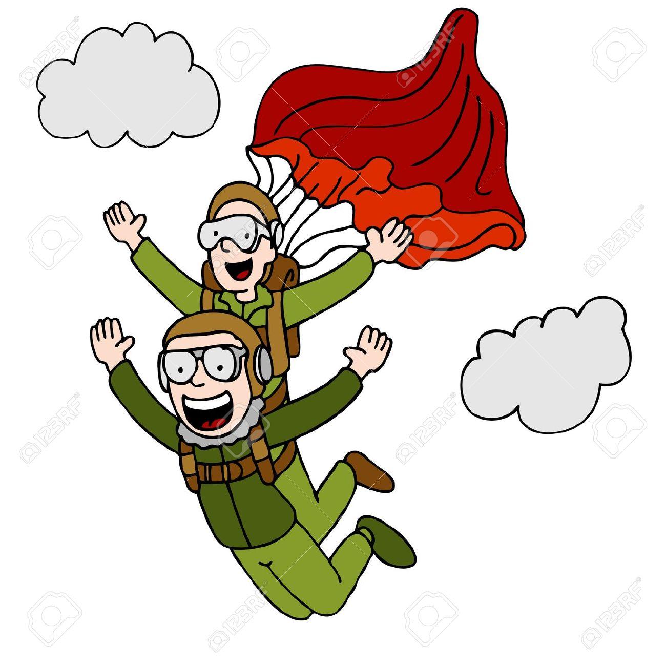 Ein Bild Von Einem Menschen Zu Tun Ein Tandem Fallschirmsprung.