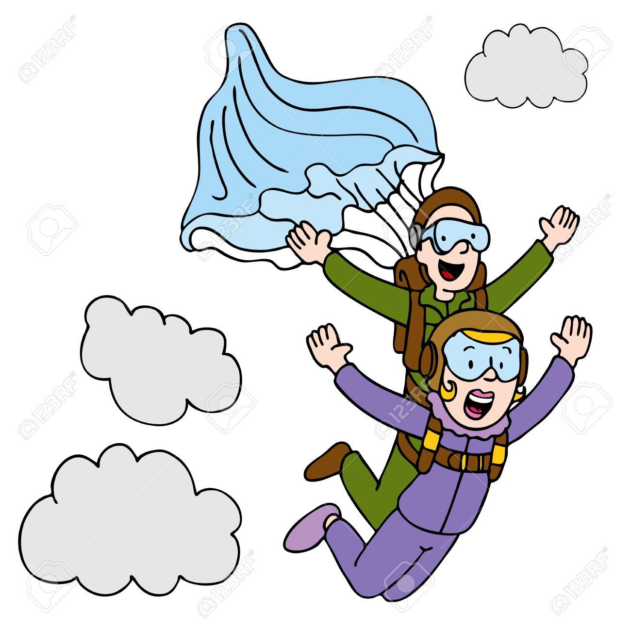 Ein Bild Von Einer Frau Tun Ein Tandem Fallschirmsprung.