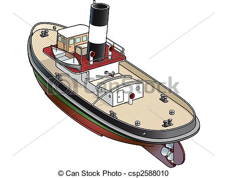 Vector Clipart of Isometric vector illustration of a tugboat from.