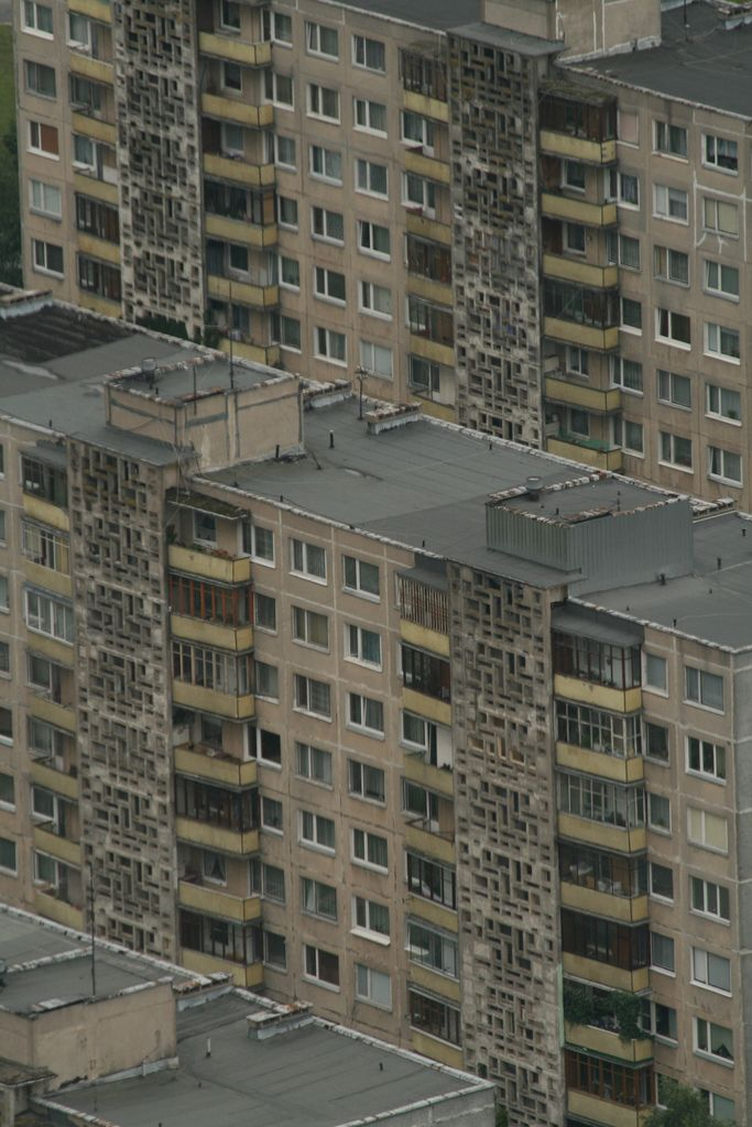 Detailed view of apartment blocks in the Lazdynai district of.