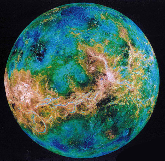Venus false color elevation.