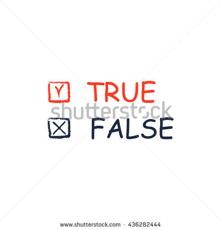 True And False. Color Simple Flat Icon On White Background Stock.