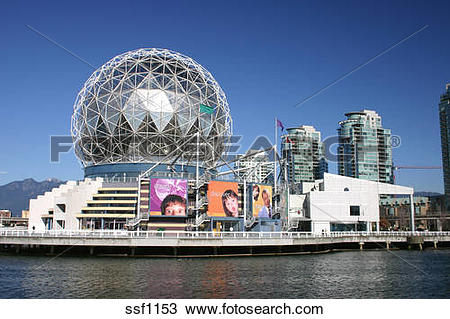 Stock Photo of Vancouvers Science World dome and False Creek.