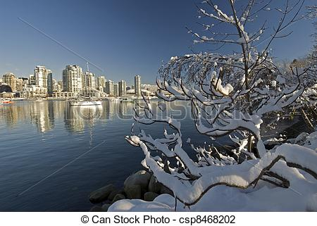 Stock Photo of Vancouver and False Creek under snow csp8468202.