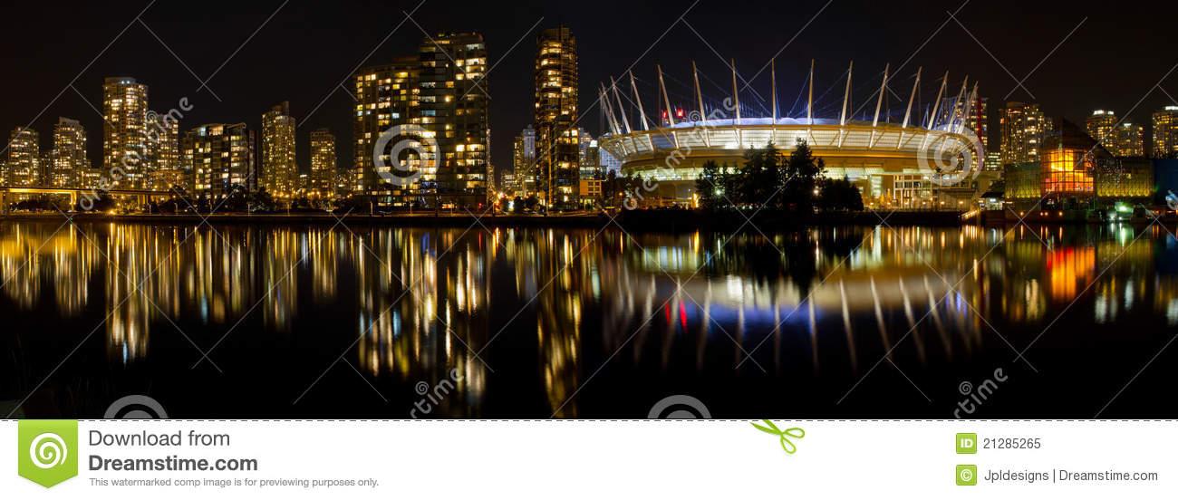 Vancouver BC Skyline Along False Creek At Night Royalty Free Stock.