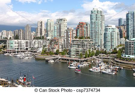 Stock Photo of Vancouver BC downtown skyline at False creek Canada.