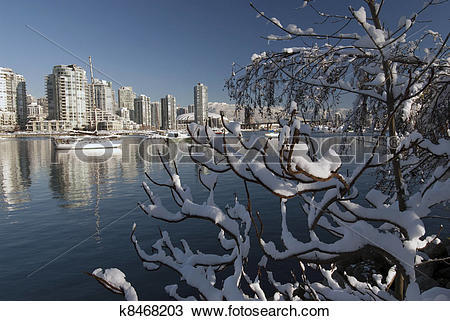 Stock Photo of Vancouver and False Creek under snow k8468203.