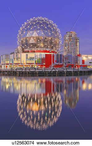 Stock Photo of Telus World of Science reflected in False Creek.