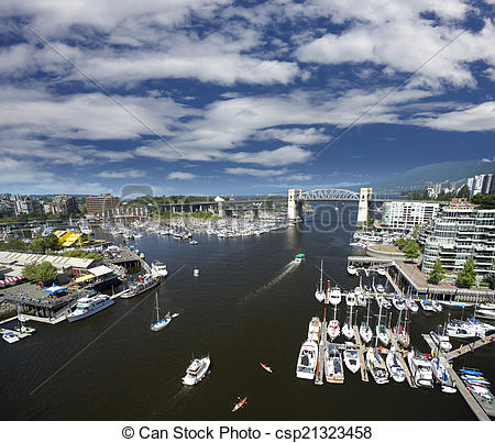 Stock Images of Vancouver, False Creek and Granville Island.