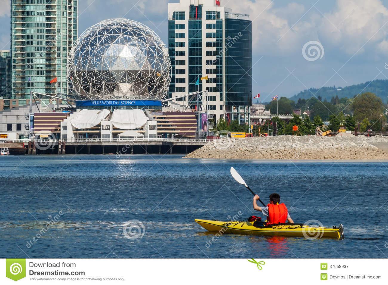 Man Rowing A Kayak In False Creek, Vancouver Editorial Photography.