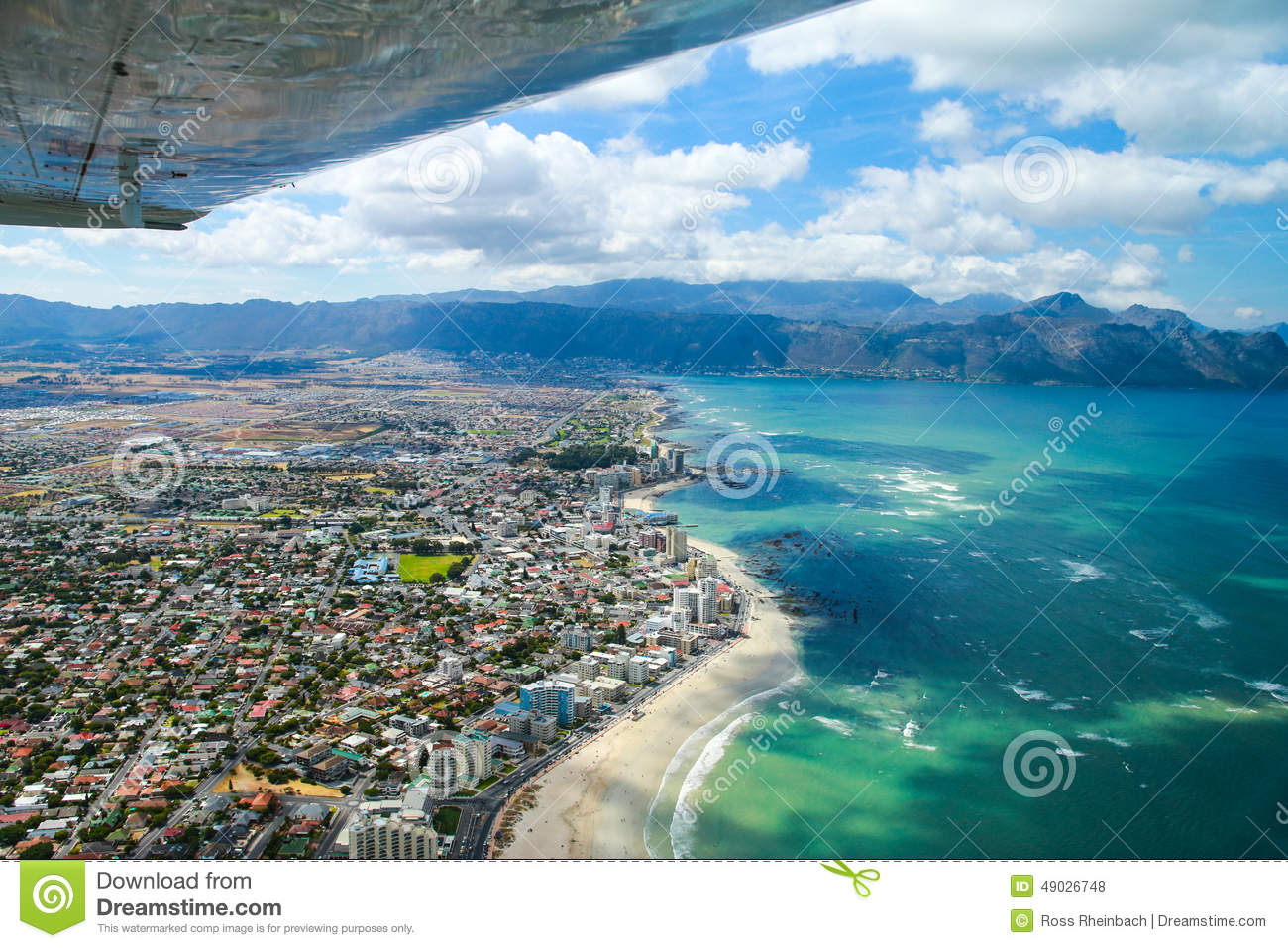 Cape Town, False Bay And Coast As Seen From Small Plane Stock.