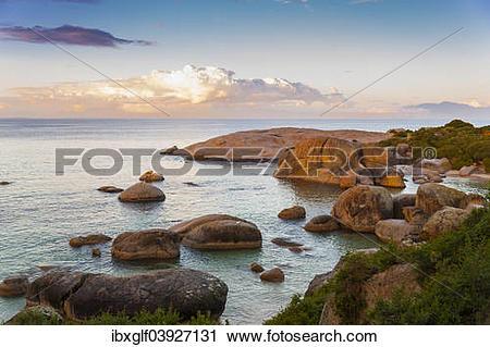 "Stock Photography of ""Rocky coast, False Bay, Boulders Beach."