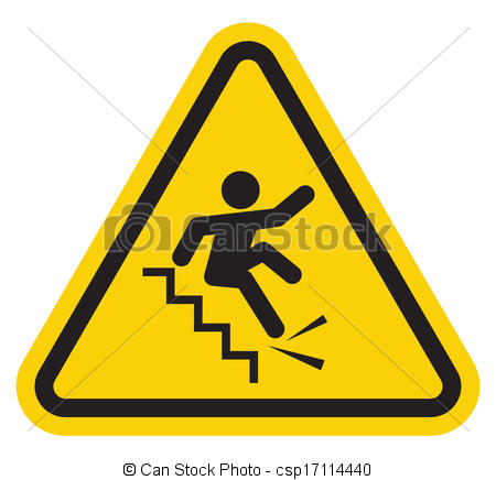 EPS Vector of Warning falling off the stairs sign csp17114440.