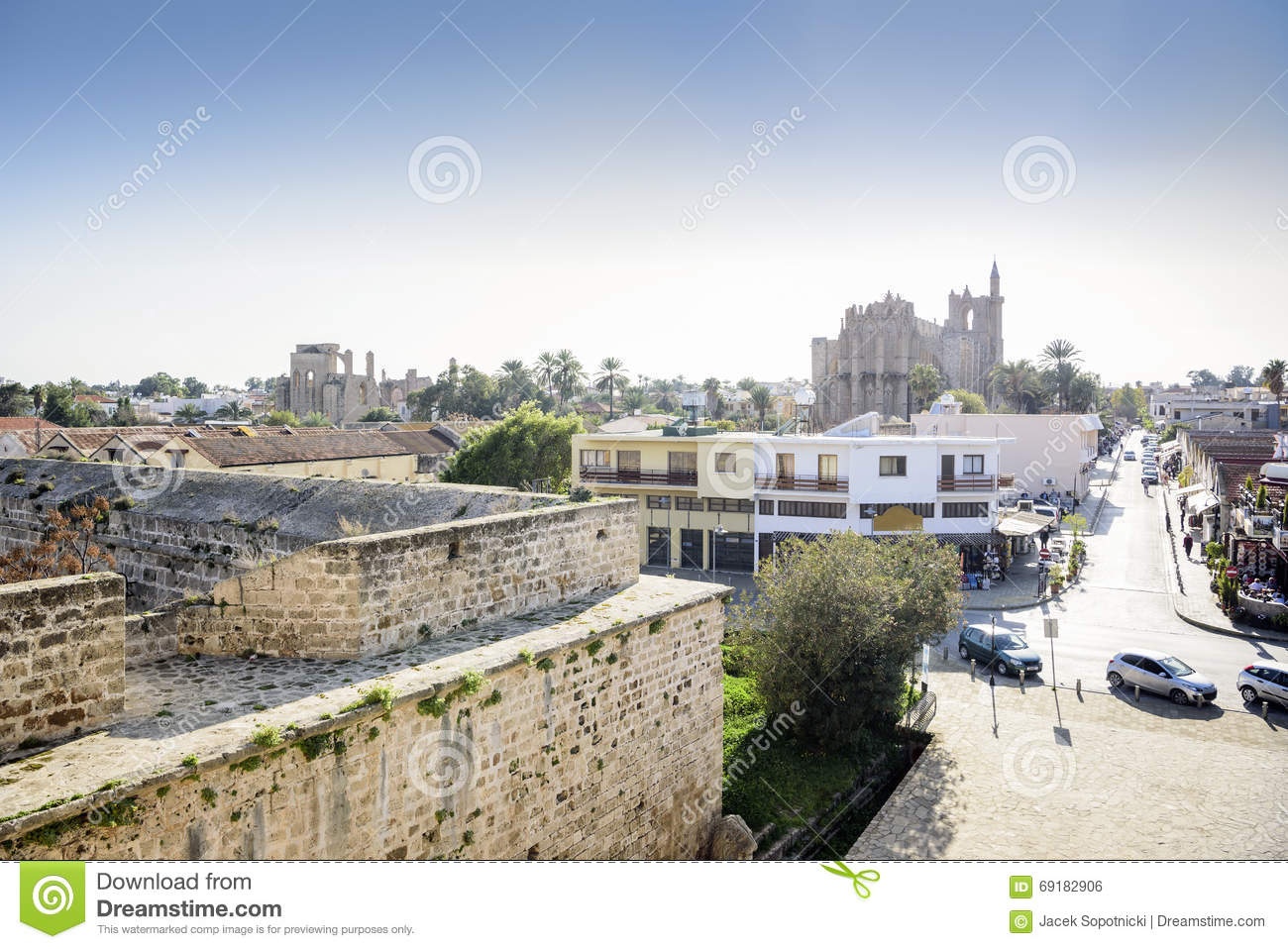Famagusta City Walls And City Center, Northern Cyprus Stock Photo.