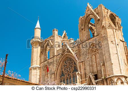 Stock Photos of Minaret of Lala Mustafa Pasha Mosque. Famagusta.
