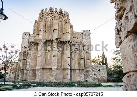 Stock Photography of Lala Mustafa Pasha Mosque in Famagusta.