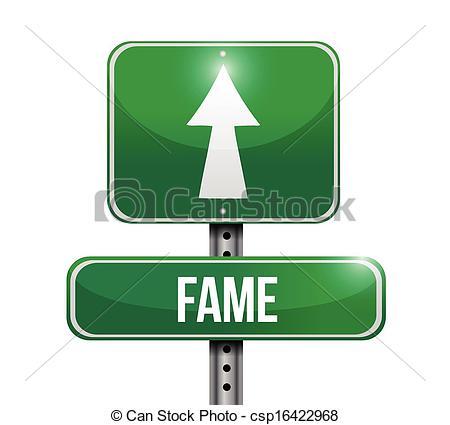 Clip Art Vector of fame road sign illustration design over a white.