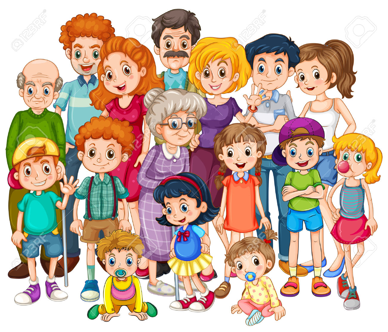 One big happy family clipart.