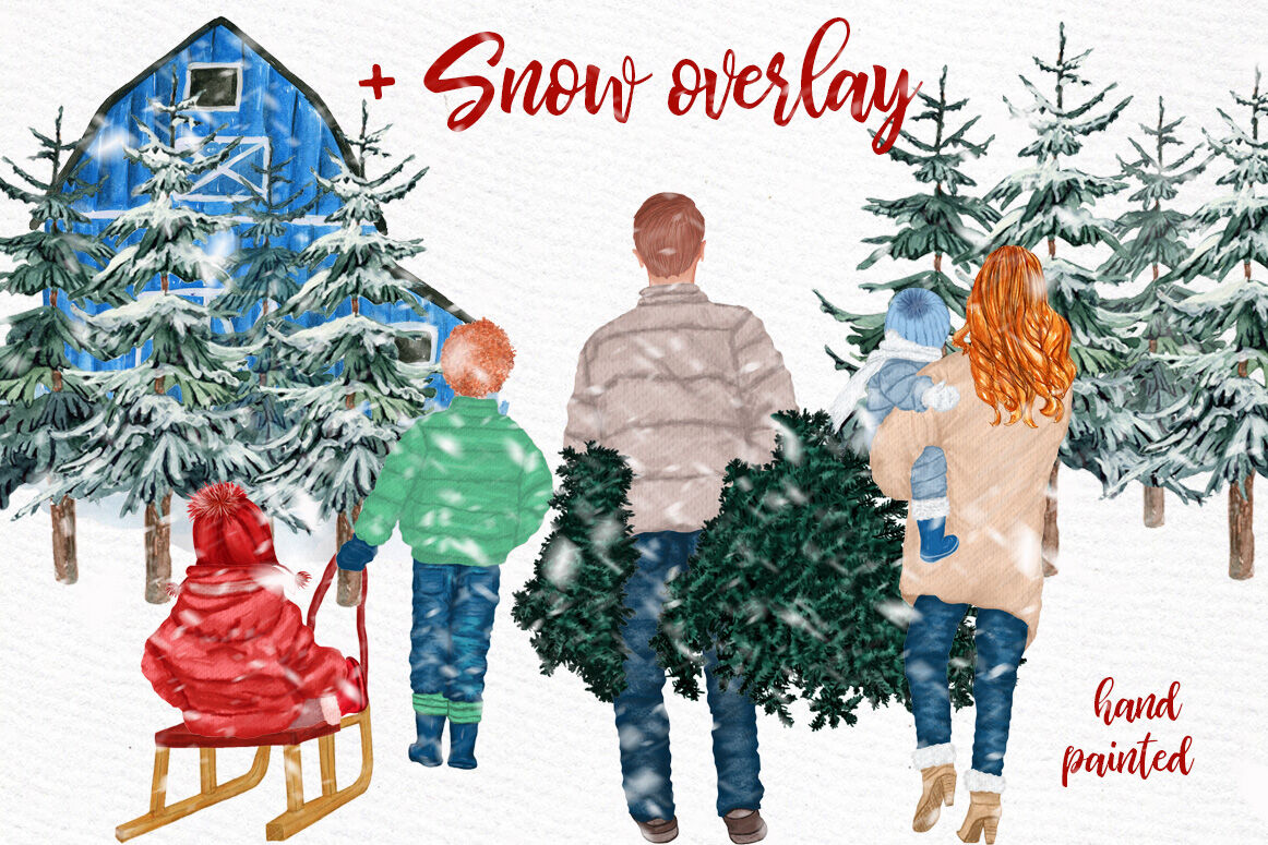 Christmas clipart,FAMILY CLIPART, Winter family, Pine Tree.